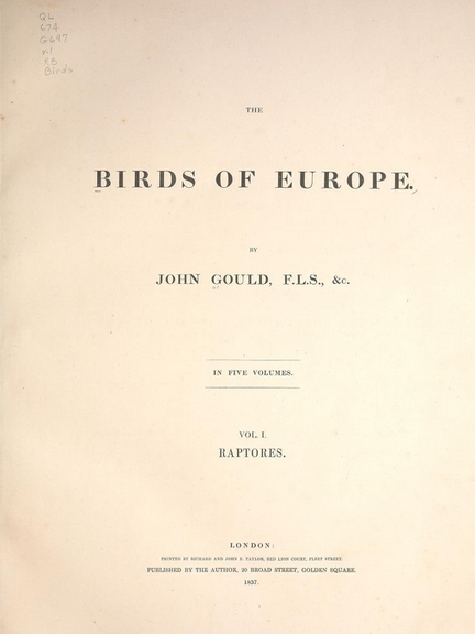 The birds of Europe, John Gould, 1804-1881