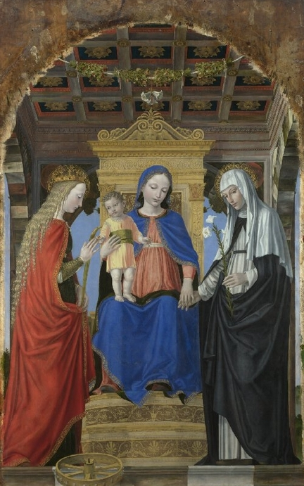 The Virgin and Child with Saint Catherine of Alexandria and Saint Catherine of Siena (vers 1490), huile sur panneau, 187,5 x 129,5 cm, National Gallery, Londres - Grande-Bretagne