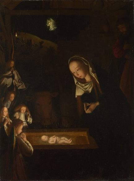 The Nativity at Night (vers 1490), huile sur panneau bois, 34 x 25,3 cm, The National Gallery, Londres - Grande-Bretagne